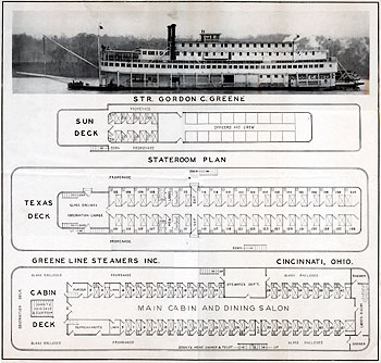 stateroom plan of the Gordon C. Greene